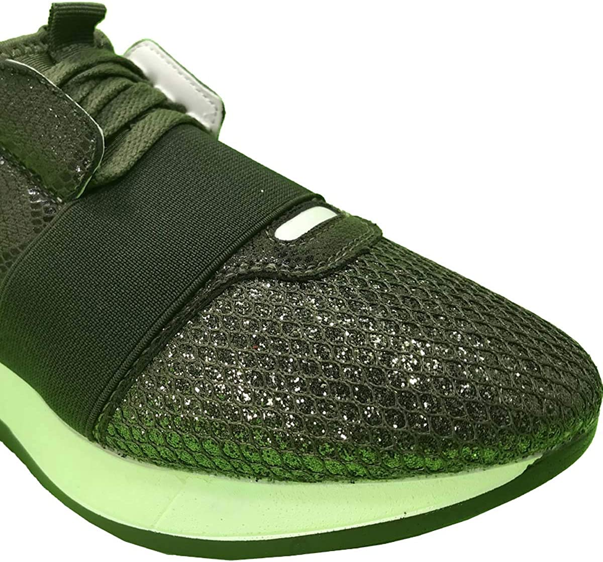 Krazy Shoe Artists Republic Womens Shiny Exotic Upper Olive Lace up Fashion Sneaker