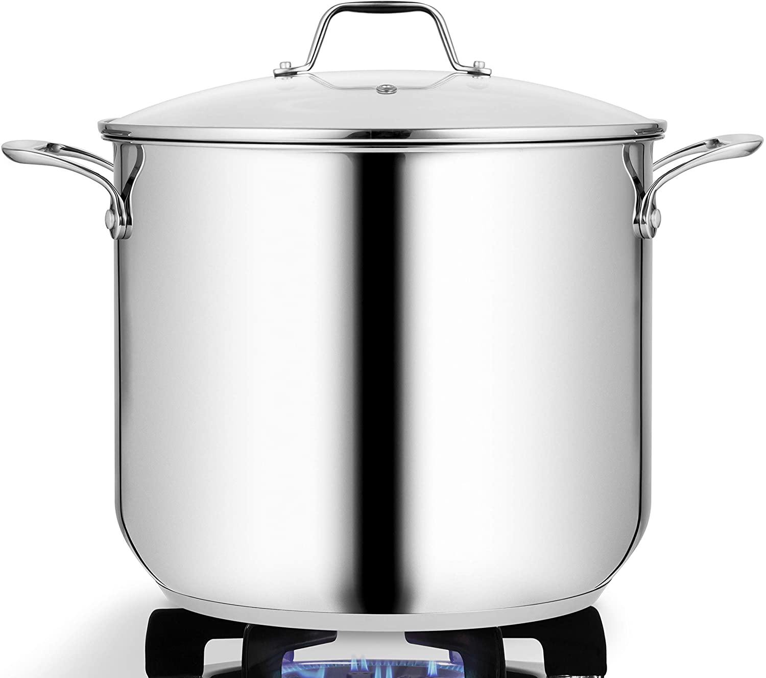 19-Quart Stainless Steel Stock Pot - 18/8 Food Grade Stainless Steel Heavy Duty Induction Large Stock Pot, Stew Pot, Simmering Pot, Soup Pot with See Through Lid, Dishwasher Safe - NutriChef NCSP20