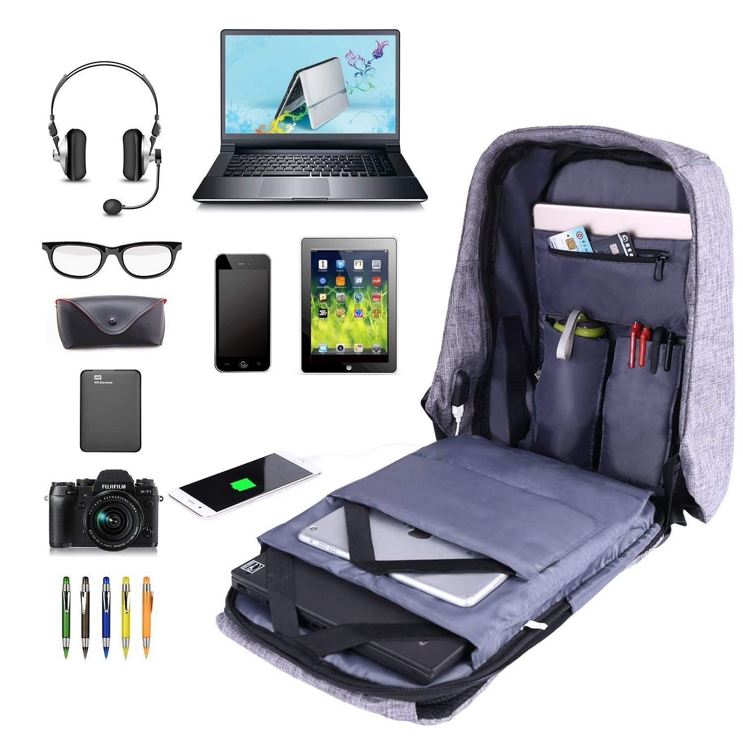 Laptop Backpack business anti-theft waterproof travel computer backpack with USB charging port college school computer bag for women & men fits 15.6 Inch Laptop and Notebook - Grey by Langus (Image #3)