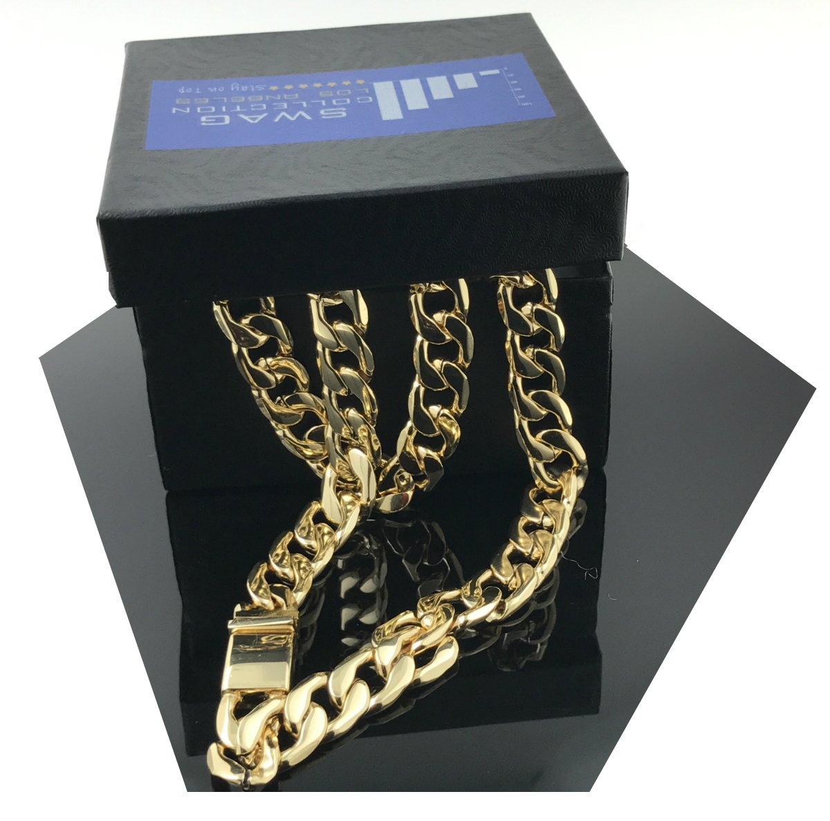 Gold chain necklace 11MM 14K Diamond cut Smooth Cuban Link with a Warranty Of A LifeTime USA Made! (30) by Unknown (Image #1)