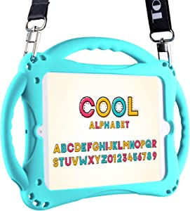 TopEsct Kids Case for iPad Mini 5 4 3 2 1,Silicone Childproof for All Kinds of iPad Mini, Built-in Handle Stand, Comes with a 2-4 Feet Adjustable Strap. (Turquoise)