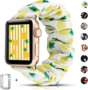 Scrunchie Watch Band Compatible for Apple Watch Band 38mm 40mm,Cute Elastic Wristbands Replacement for iwatch Series 5 4 3 2 1 (Pineapple+Series 4/5 case, 38/40mm)