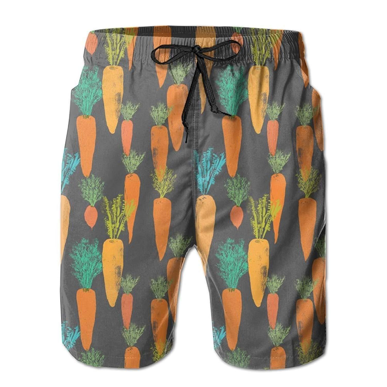 SINOVAL Painting Carrot Pattern Mens Summer Casual Swimming Shorts Beach Board Shorts