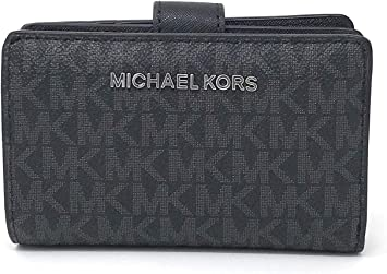 Michael Kors Jet Set Travel Saffiano Leather Bifold Zip Coin Wallet (Black PVC 2019)