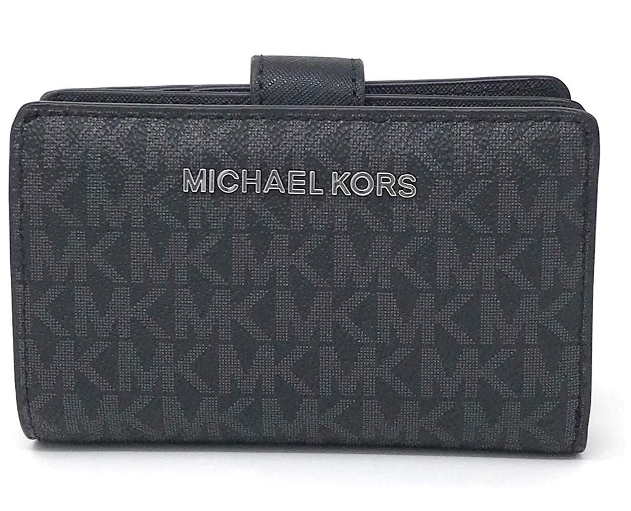 Michael Kors Jet Set Travel Saffiano Leather Bifold Zip Coin Wallet (Black PVC 2019) by Michael Kors (Image #1)