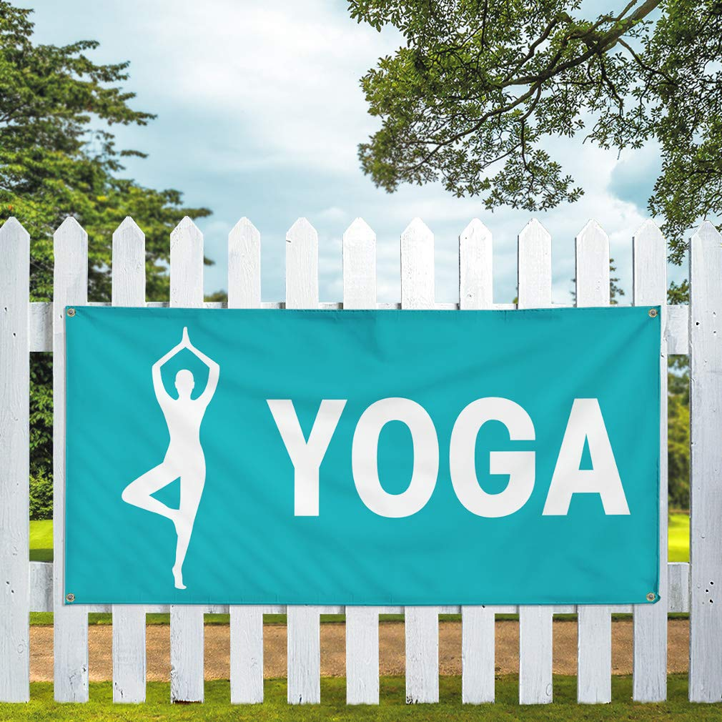 One Banner Vinyl Banner Sign Yoga #1 Business Yoga Outdoor Marketing Advertising Green Multiple Sizes Available 44inx110in 8 Grommets