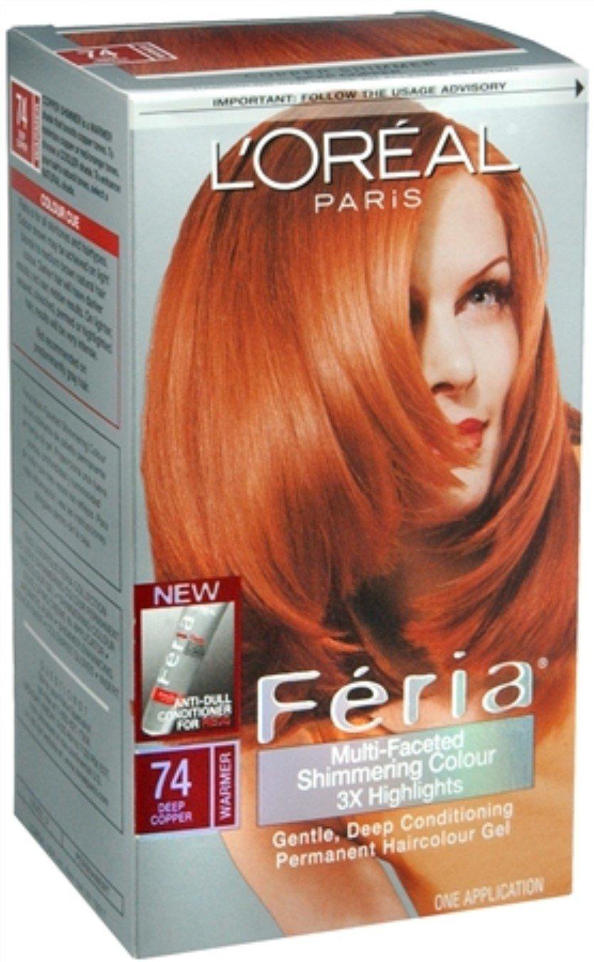 Loreal Feria Permanent Haircolor Gel 74 Copper Shimmer Deep