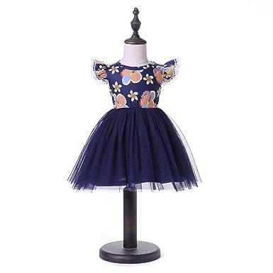 d6306d32fcbc Amazon.com  Summer Baby Girls Princess Dress Flower Navy Blue Night ...