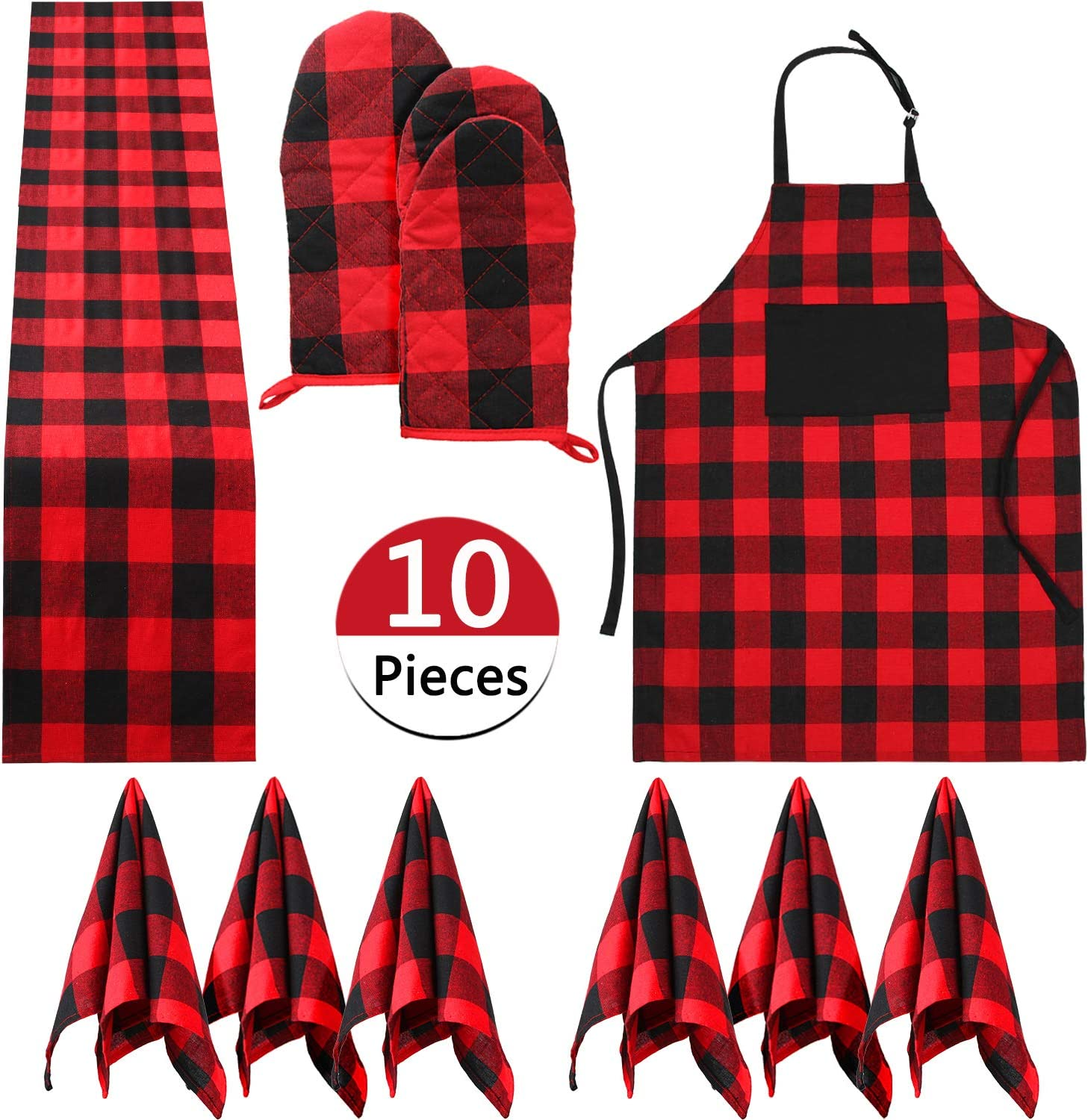 10 Pieces Christmas Buffalo Plaid Check Table Runner Placemat Red Black cloth Napkins Oven Heat Resistant Buffalo Plaid Cotton Apron Adjustable with Pocket Extra Long Ties Set for Kitchen Cook