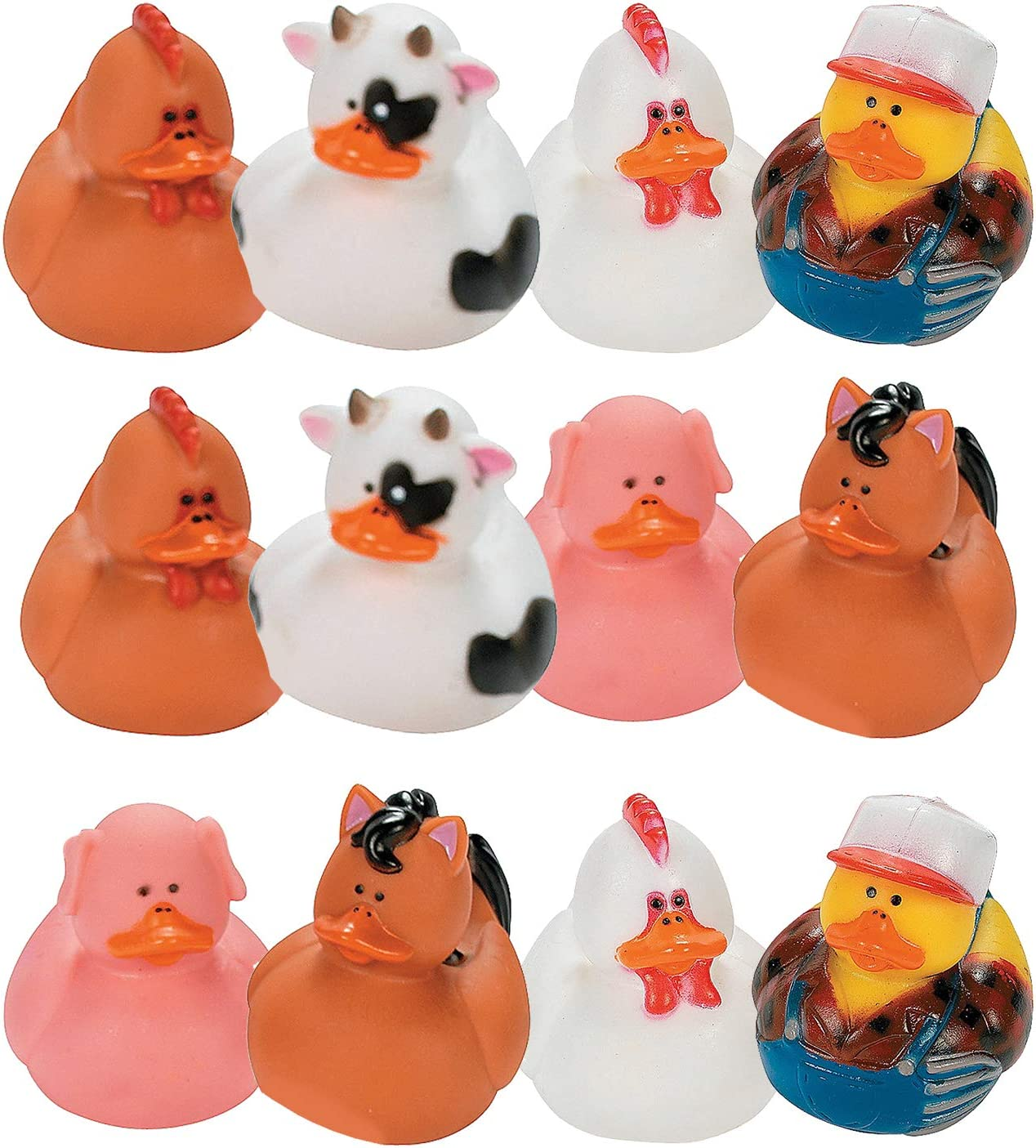 Fun Express Farm Animal Rubber Duckies   12 Count   Great for Party Favors, Children's Birthday Bash, Animal-Themed Parties