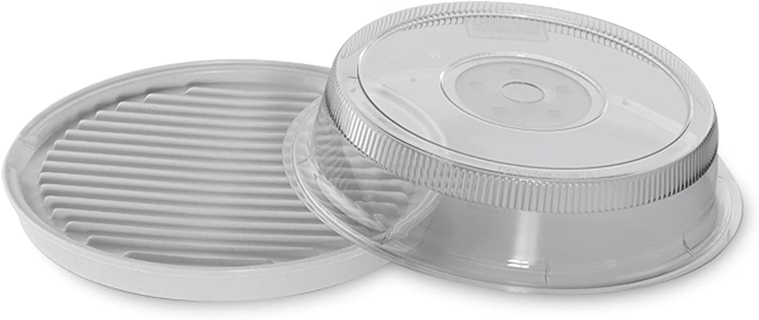 Nordic Ware Microwave 2-Sided Round Bacon and Meat Grill and 10-Inch Deluxe Microwave Plate Cover