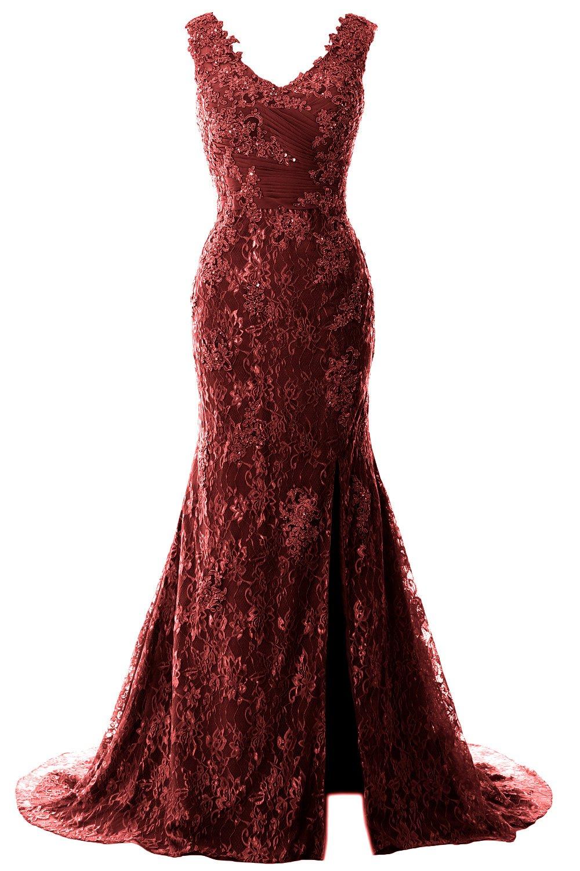 61d1315943d3 MACloth Women Mermaid V Neck Lace Wedding Formal Evening Gown Long Prom  Dress (US16w, Burgundy)