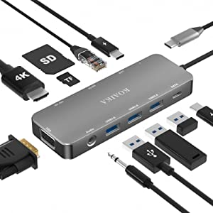 USB C Docking Station, 11-in-1 Docking Station 4K Display, Laptop Docking Station 3x 3.0 USB Ports, 100W PD, 1000Mbps Ethernet, SD TF Reader, Compatible for MacBook Pro/Air Dell, HP, ThinkPad, Surface