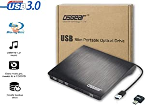 OSGEAR USB 3.0 TYPE C Slim External 6x Blu-Ray BD CD DVD RW ROM 3D Writer Burner Drive Windows MAC Laptop Desktop PC Tray Loading Portable Enclosure Housing Box Case Copy Duplicate Clone Disc Support