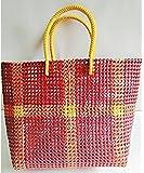GURUDEV CRAFTS Koodai Handmade Strong Washable Multipurpose Plastic Wire Grocery Bag, Large, 32Lx32Hx10W (Multicolour, ns003)
