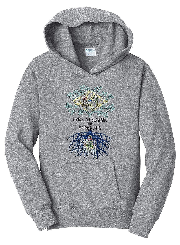 Tenacitee Girls Living in Delaware with Maine Roots Hooded Sweatshirt