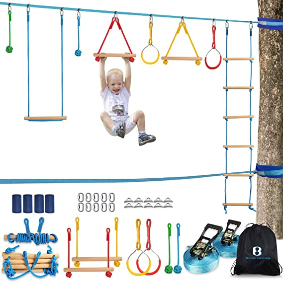 Ninja Warrior Obstacle Course for Kids Unique Protective Sleeve for Non-Tear-Line 50FT Ninja Line with Wheel Swing Rope Ring 11 Obstacles Training Equipment for Outdoor Backyard Fun