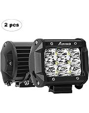AAIWA Faro da Lavoro LED, 4 Pollici 27W Faretti a LED per Auto Barra LED Fuoristrada LED Pods con 9 LEDs per SUV ATV UTV Truck Barca, 2 Pezzi, 2 Anni di Garanzia