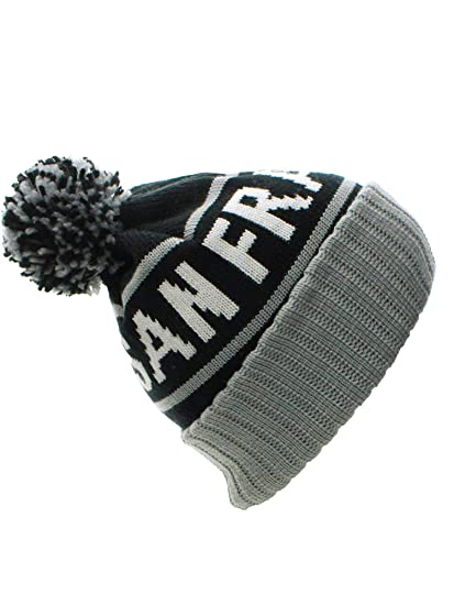 d1baeb3fe01 American Cities San Francisco Cuff Beanie Cable Knit Pom Pom Hat Cap at  Amazon Men s Clothing store