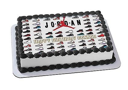 Amazon com : Jordan Retro Shoes Edible Cake Topper Personalized