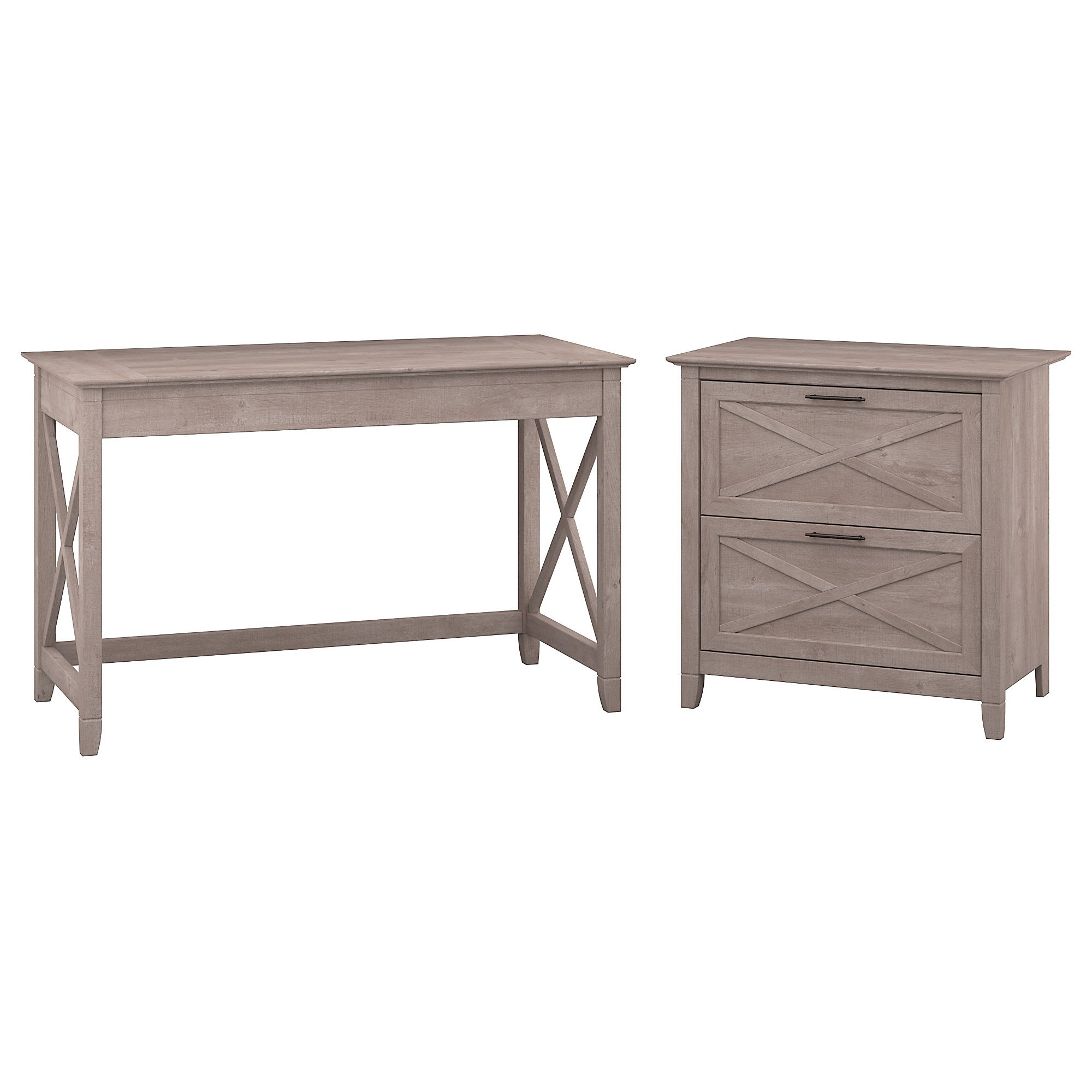 Bush Furniture Key West 48W Writing Desk with 2 Drawer Lateral File Cabinet in Washed Gray by Bush Furniture