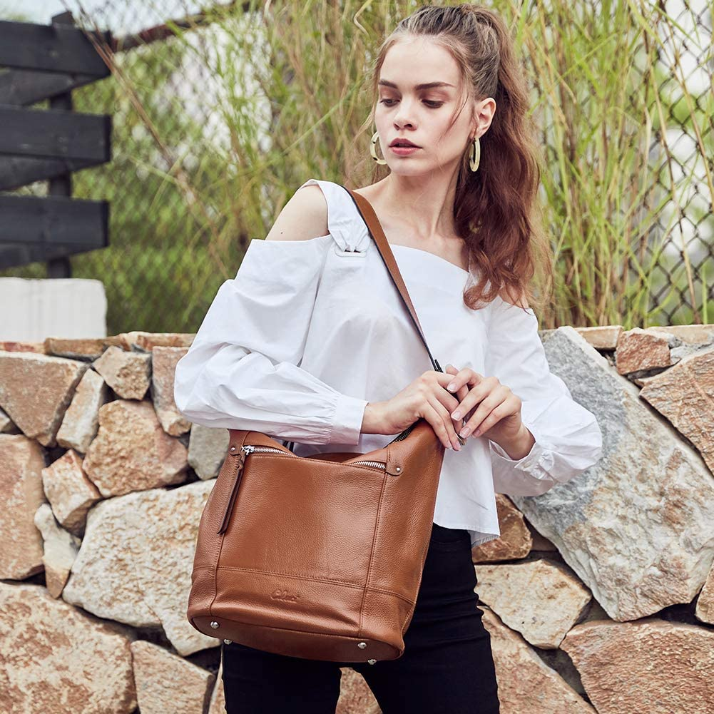 Handbags Purses for Women Soft Genuine Leather Designer Bucket Tote Ladies Shoulder Bag Brown Grey
