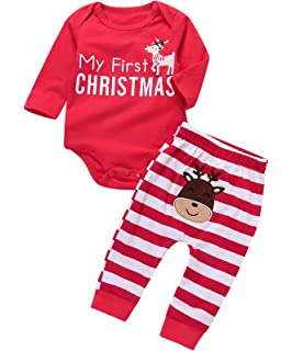 9e1dd833f Amazon.com  BAOBAOLAI Xmas Outfits for Newborn Baby Girls Boys My ...