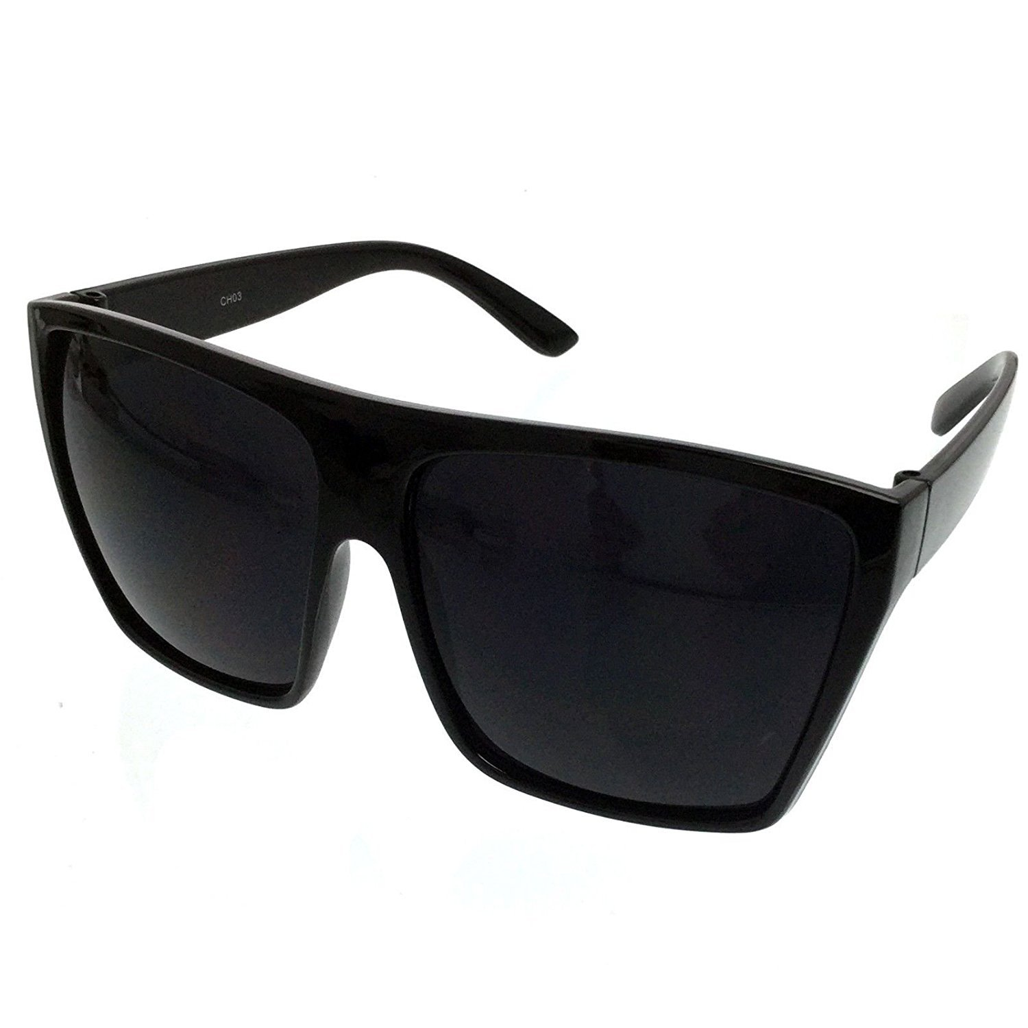 All Black Flat Top Oversized Square Kim Sunglasses (All Black, Black)