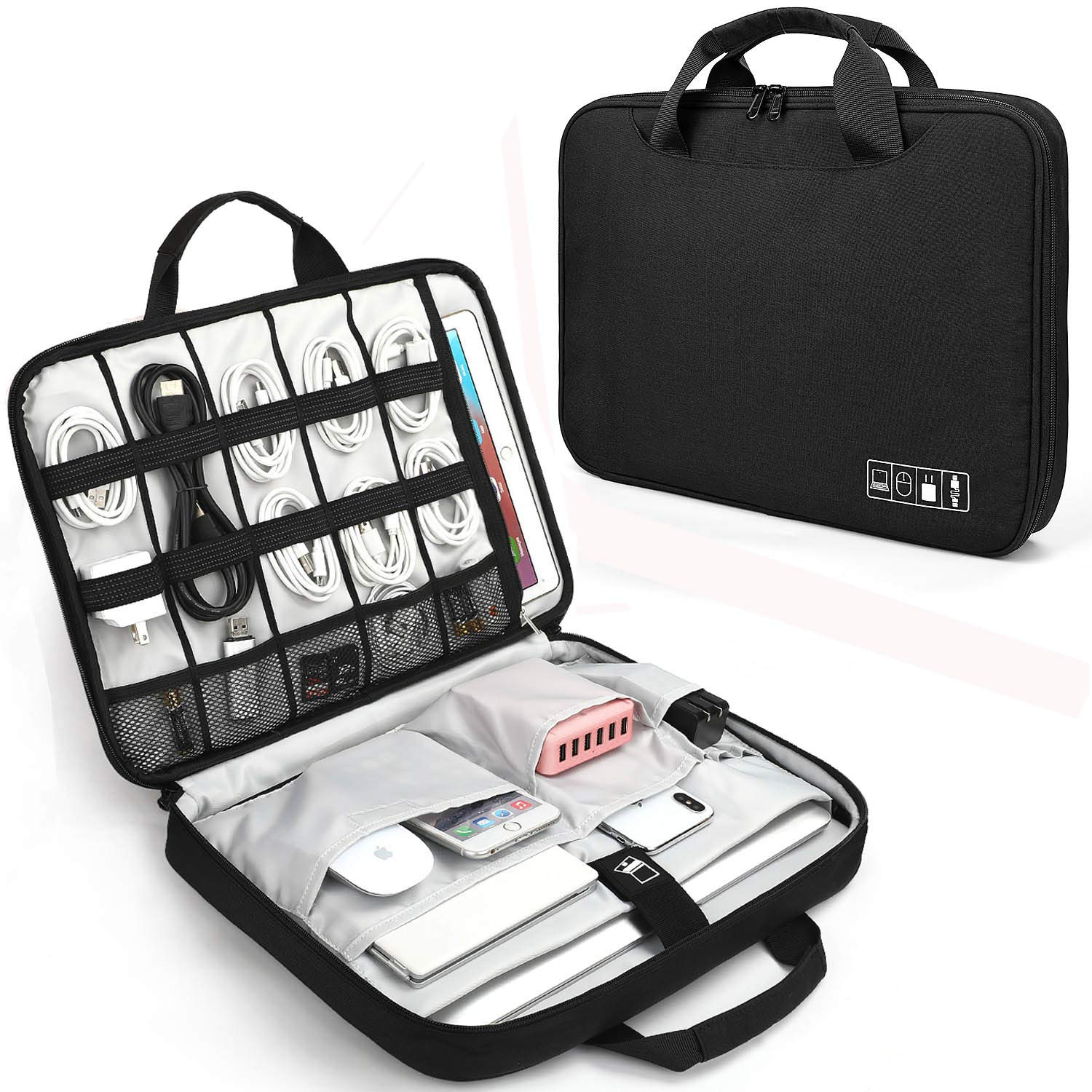 Electronics Organizer, Jelly Comb Laptop Sleeve Electronic Accessories Travel Gadgets Carry Case for 13-14in Laptop, New MacBook, iPad 12.9'', Cables, Power Bank and More (Black and Gray)