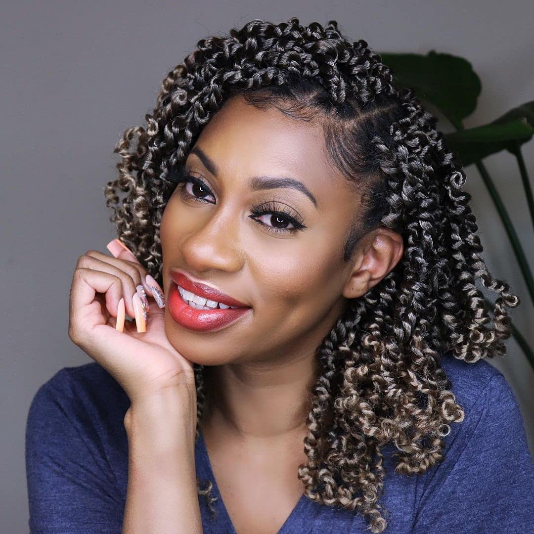 Max 57% OFF Tiana Passion Twist Hair 8 Inch Pack Natural Pre-twis Tulsa Mall 1B Black