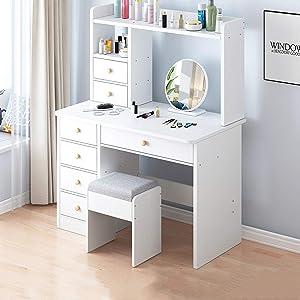 WSJIANP Dresser Table,Vanity Set with 7 Drawers,Vanity Table with Storage Shelves,Versatile Vanity Makeup Table,Dresser Desk-White 80x40x127cm(31x16x50inch)