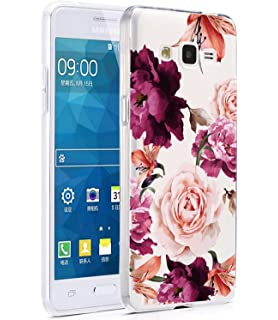 Galaxy Grand Prime Case, Galaxy J2 Prime Case with Flowers, BAISRKE Slim Shockproof Clear