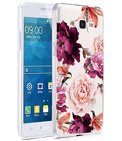 brand new 70492 6802c BAISRKE Galaxy Grand Prime Case, Galaxy J2 Prime Case with Flowers Slim  Shockproof Clear Floral Pattern Soft Flexible TPU Back Cove for Samsung  Galaxy ...