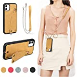 MIAODAM Kickstand Shockproof Crossbody iPhone 11 Case, iPhone 11 Wallet Leather Case with Card Slot Holder Adjustable Chain S