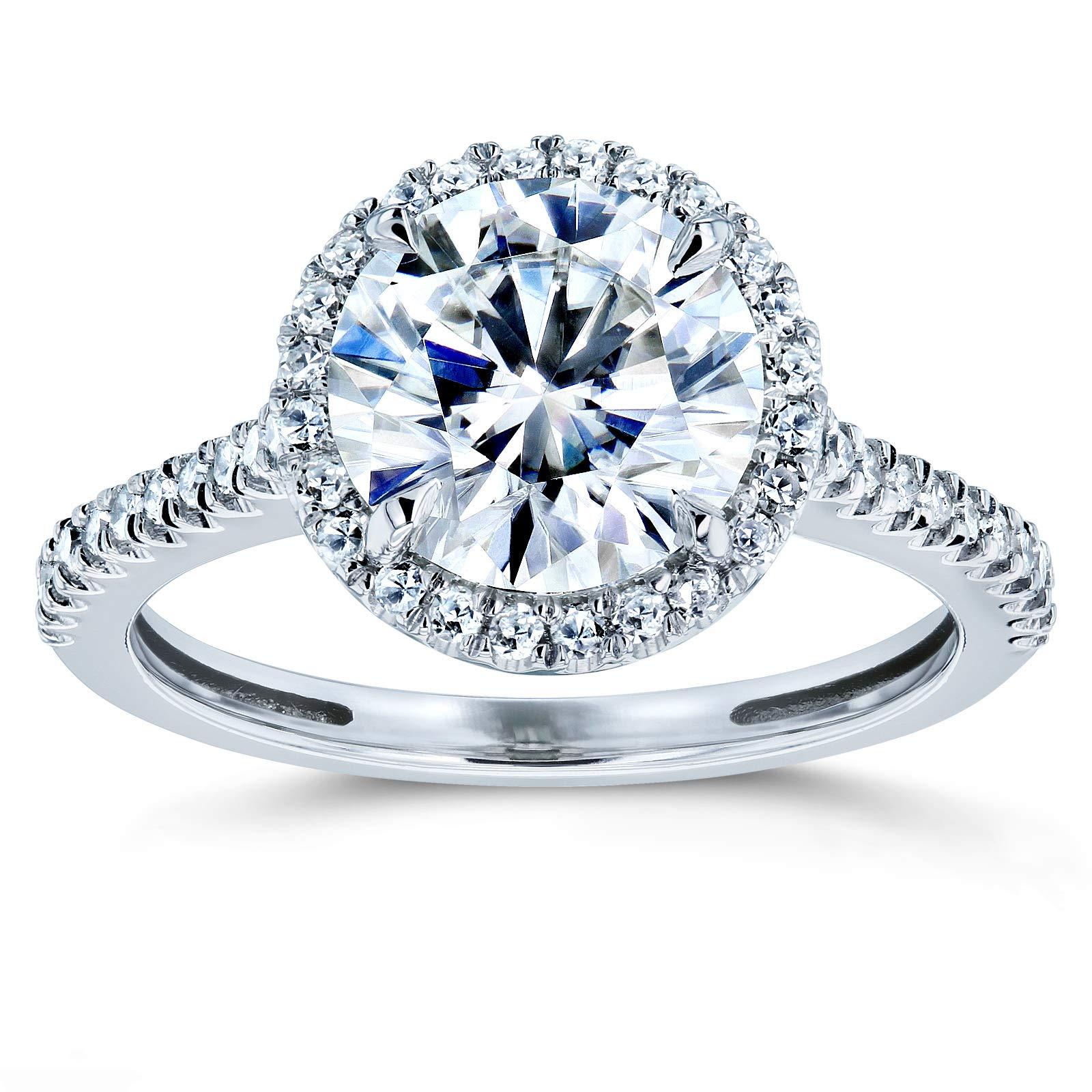 Round Brilliant Forever One Moissanite and Diamond Halo Engagement Ring 2 1/6 CTW 14k White Gold (DEF/VS, GH/I), 5.5