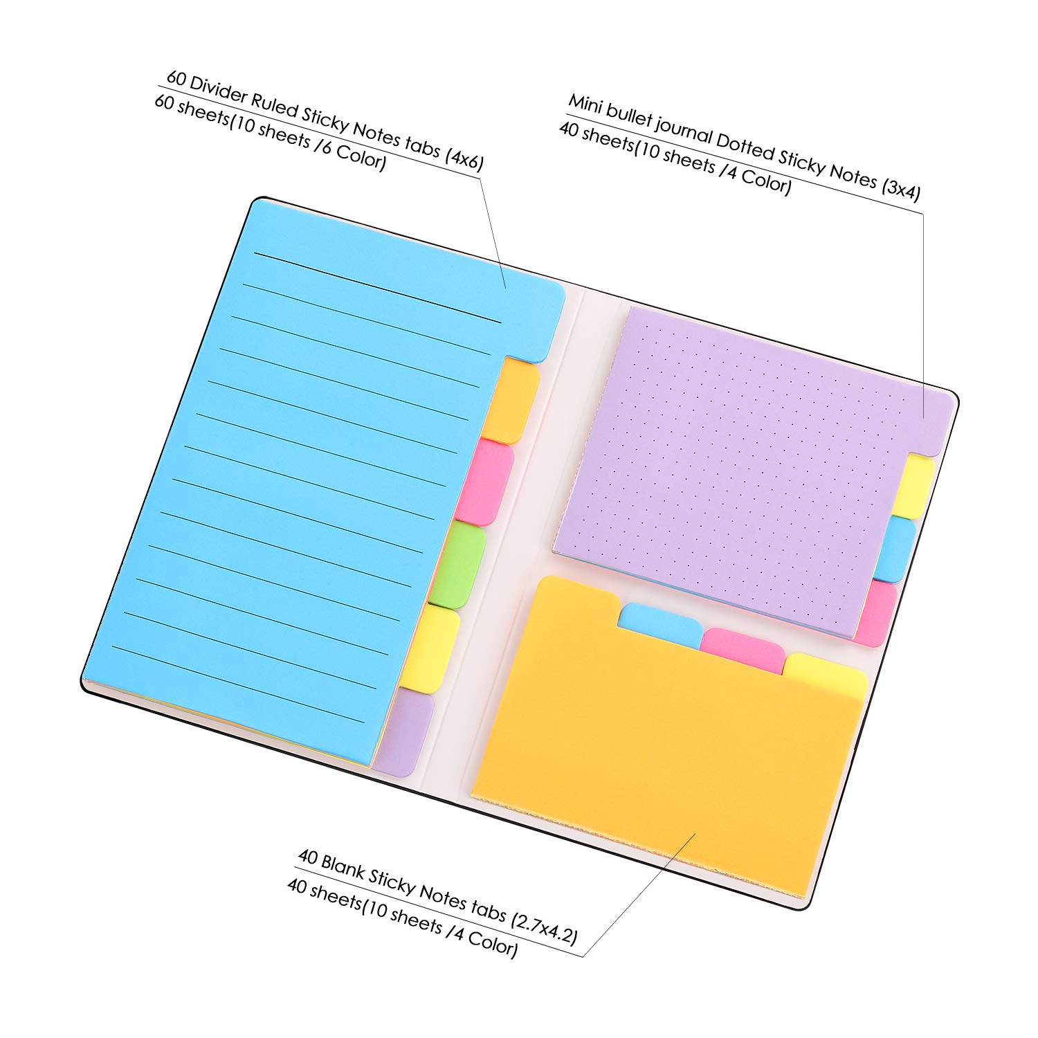 Amazon.com: Sticky Notes with Bookmark Index, 140 Pages Divider ...