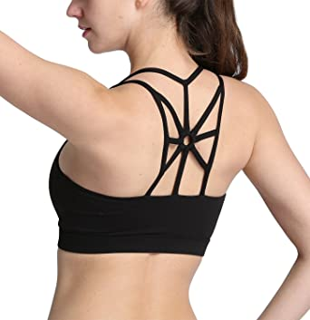83fb9e80502e6 SLTY Women s Strappy Yoga Bras High Impact Wirefree Padded Sport Bra Cross  Back Activewear Workout Running