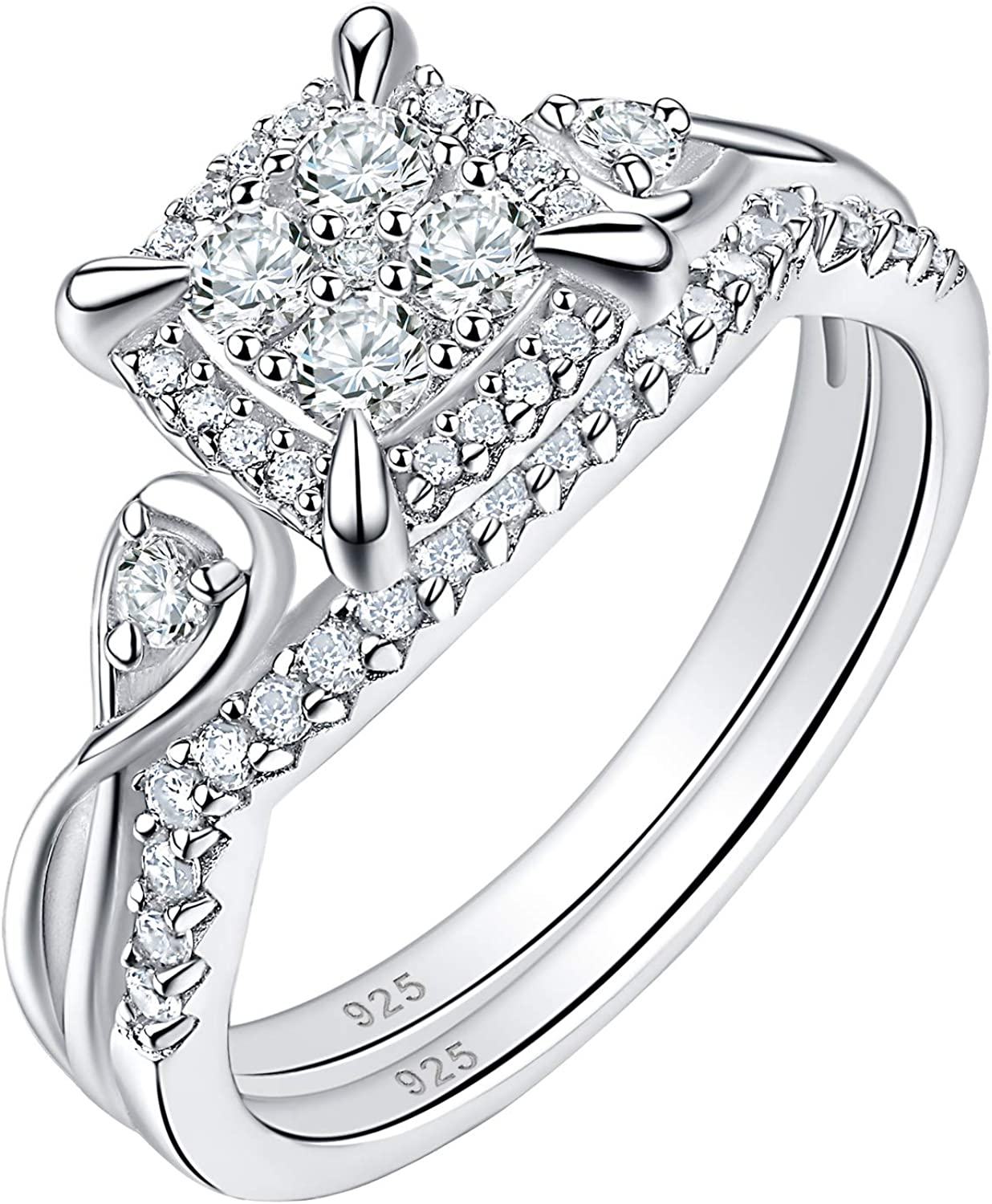SHELOVES Infinity Sterling Silver Wedding Rings Set Round Cut Princess Cluster Cz for Women Sz 5-10