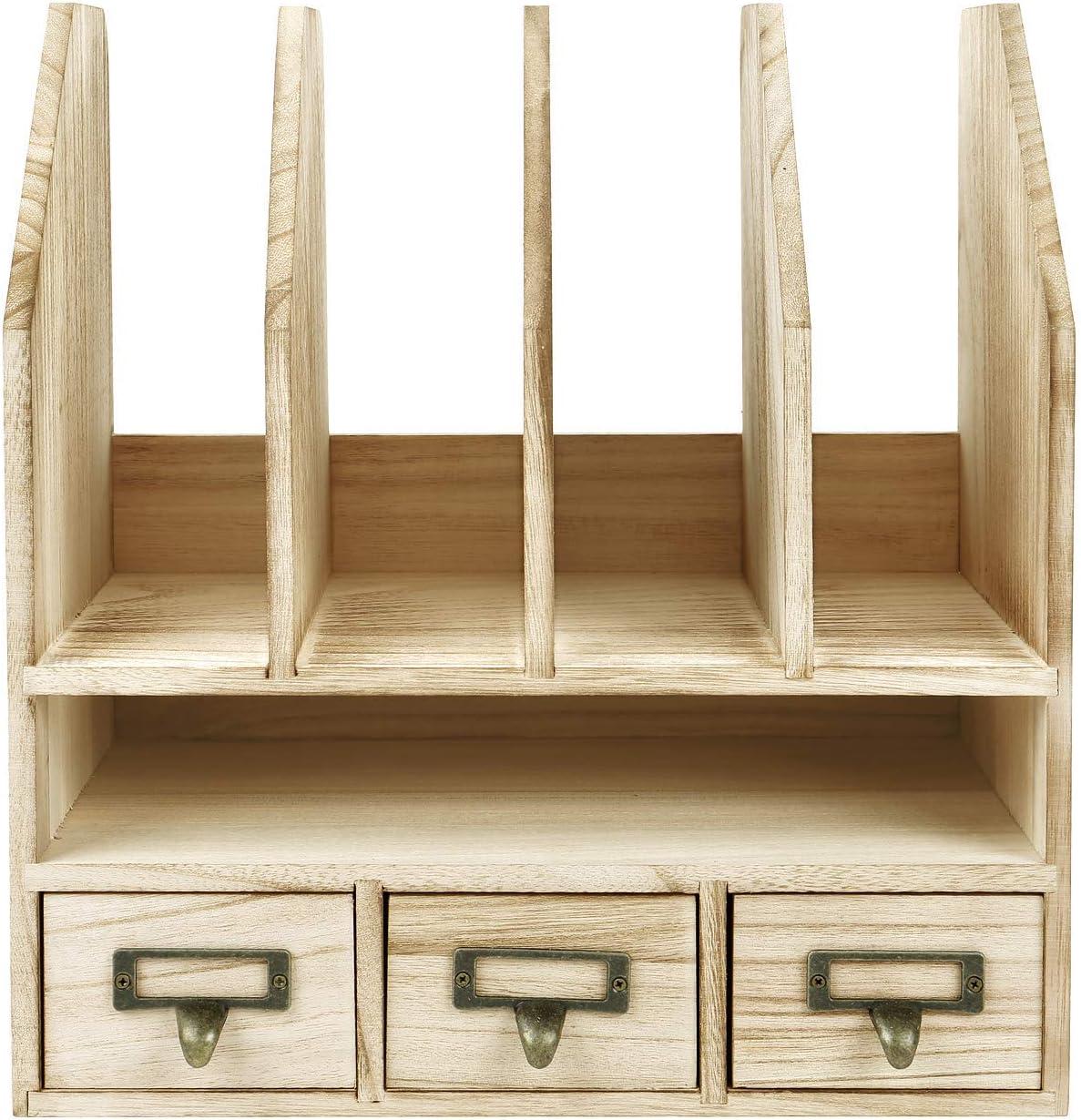 Ikee Design Wooden Desk Organizer File//Mail Sorter Office Supplies Storage