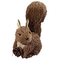 Toyvian Estátua de esquilo de palha feita à mão com esquilo de Natal e jardim esquilo estátua escultura arte de jardim…