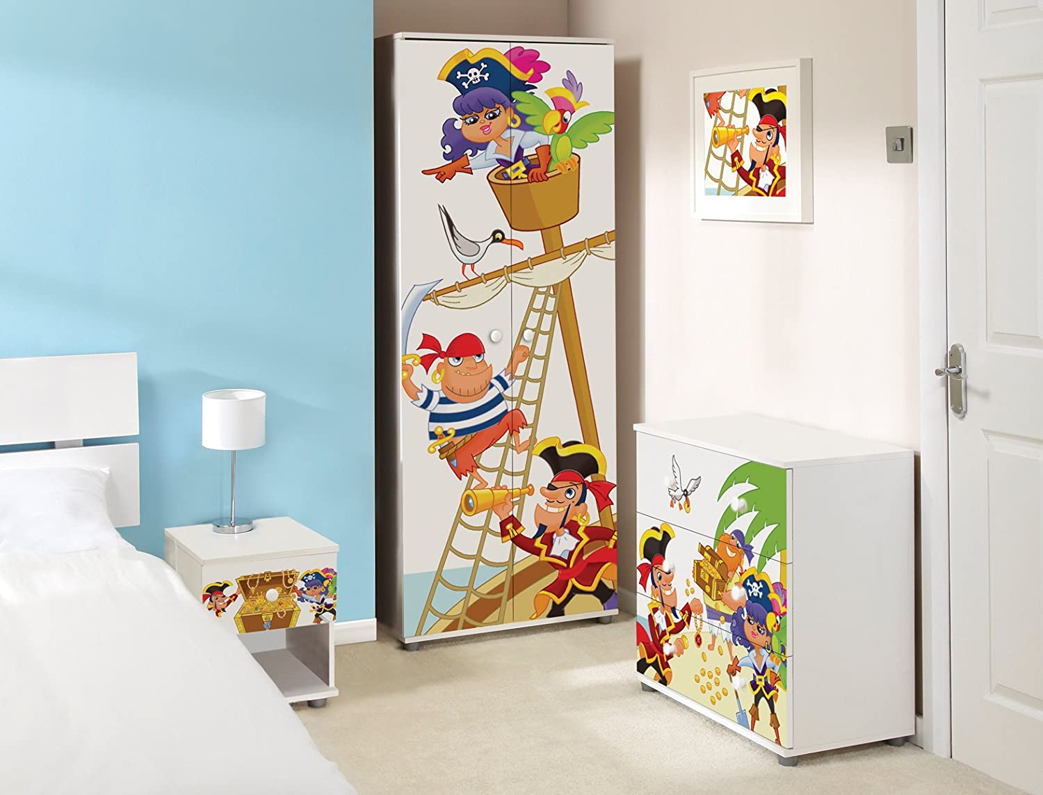 Pirate Design Childrens/Kids White Bedroom Furniture Sets: Amazon ...