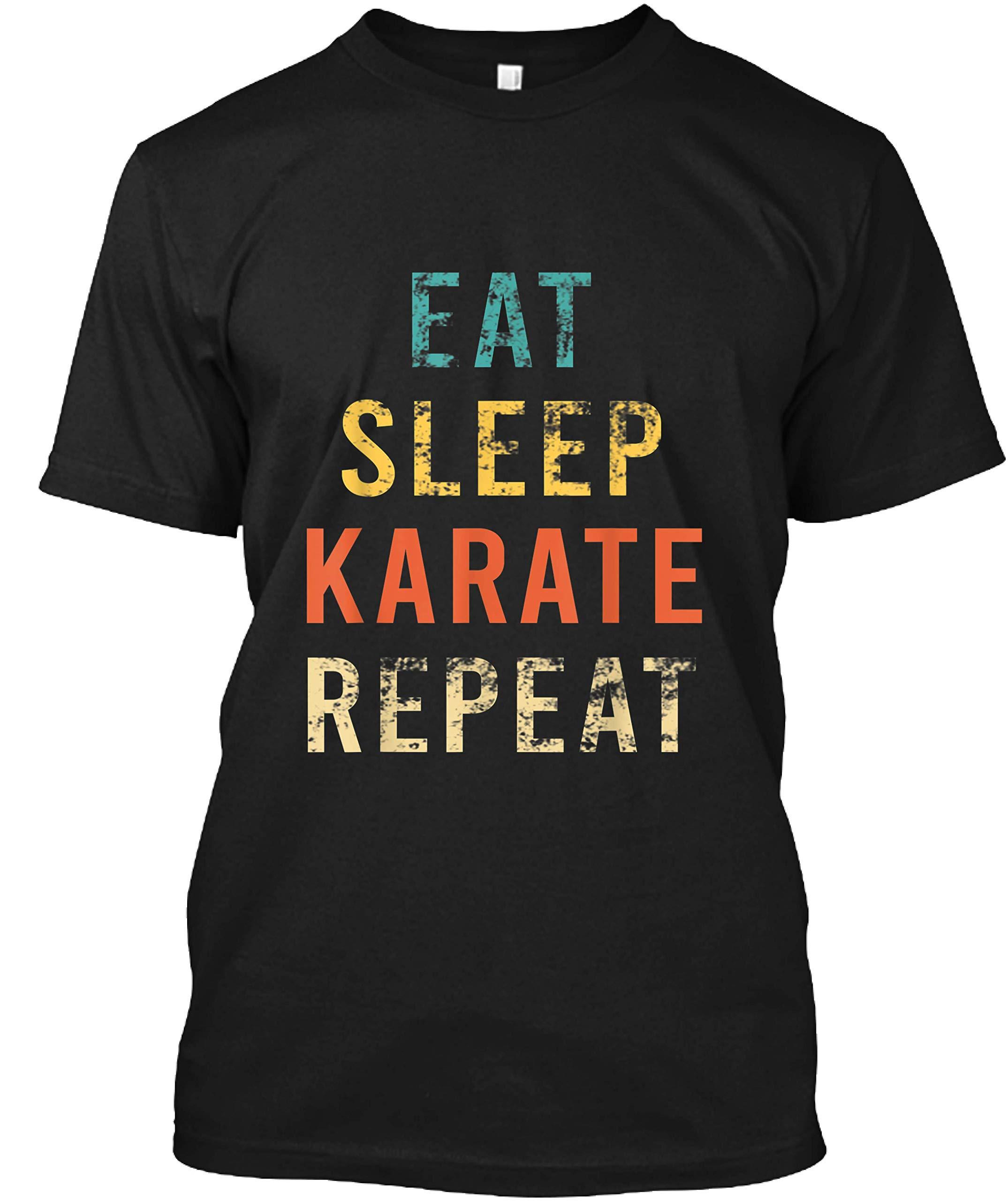 Retro Eat Sleep Karate Repea Karate Fan Coach Trainer Shirts