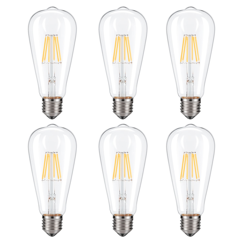 Dimmable Edison LED Bulb, Soft Warm White 2700K, Kohree 6W Vintage LED Filament Light Bulb, 60W Incandescent Equivalent, E26 Medium Base Lamp for Restaurant,Home,Reading Room, 6-Pack(NOT Daylight)