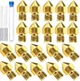 AJSPOW 20PCS 0.4mm 3D Printer Extruder Brass Nozzles for Makerbot MK8 Creality CR-10 Ender 3 3Pro 5 with 5PCS 0.4mm Stainless Steel Nozzle Cleaning Needles and Storage Box