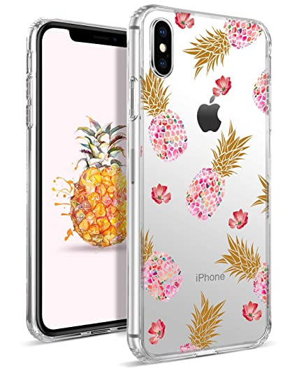 super popular 9a75a 59ee6 DOMAVER Case for iPhone Xs Max, Pineapple Crystal Clear Shock Absorption XS  Max Phone Cases Hybrid Slim Soft TPU Bumper Hard Transparency Glass Floral  ...