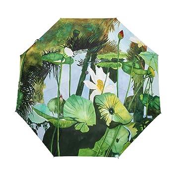 107d63ac7331 Amazon.com: Umbrella White Watercolor Lotus Golf Travel Sun Rain ...