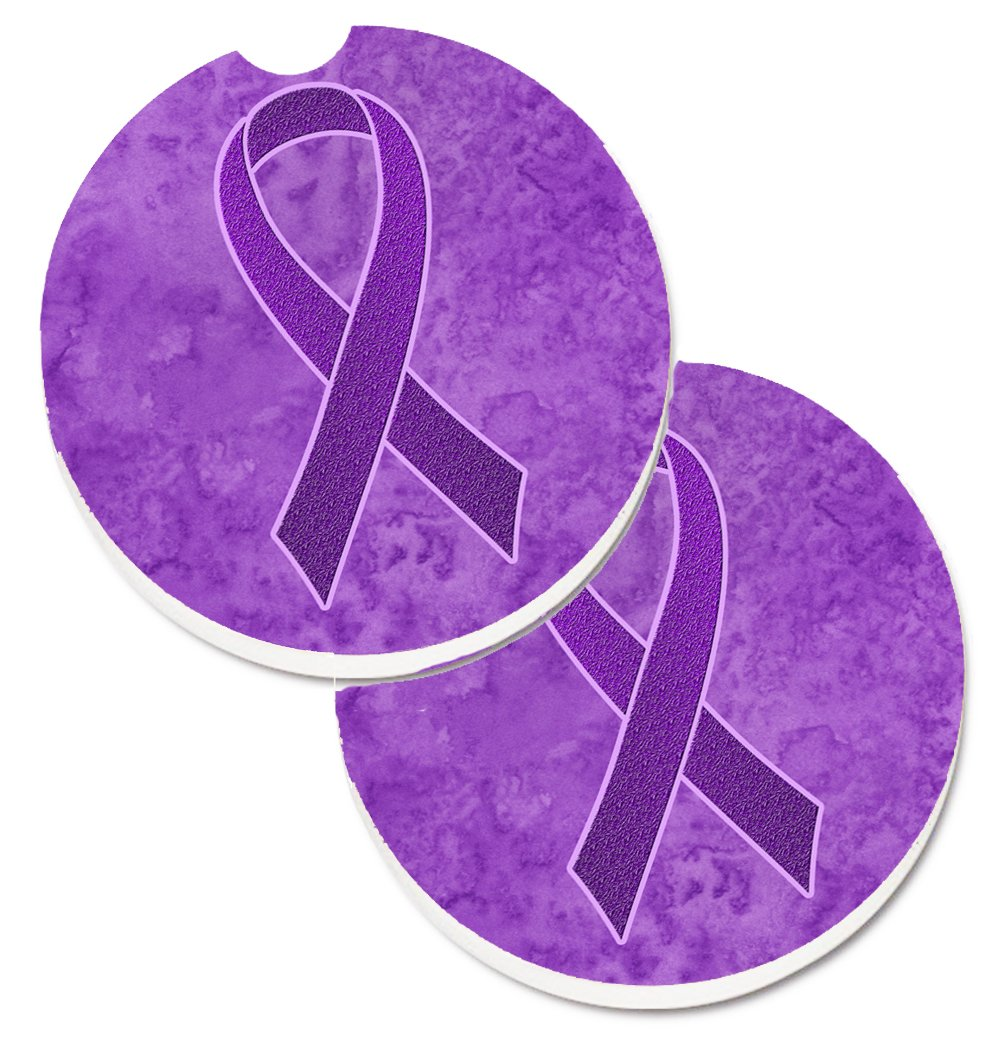 Carolines Treasures Purple Ribbon For Pancreatic /& Leiomyosarcoma Cancer Awareness Set of 2 Cup Holder Car Coasters AN1207CARC Multicolor 2.56