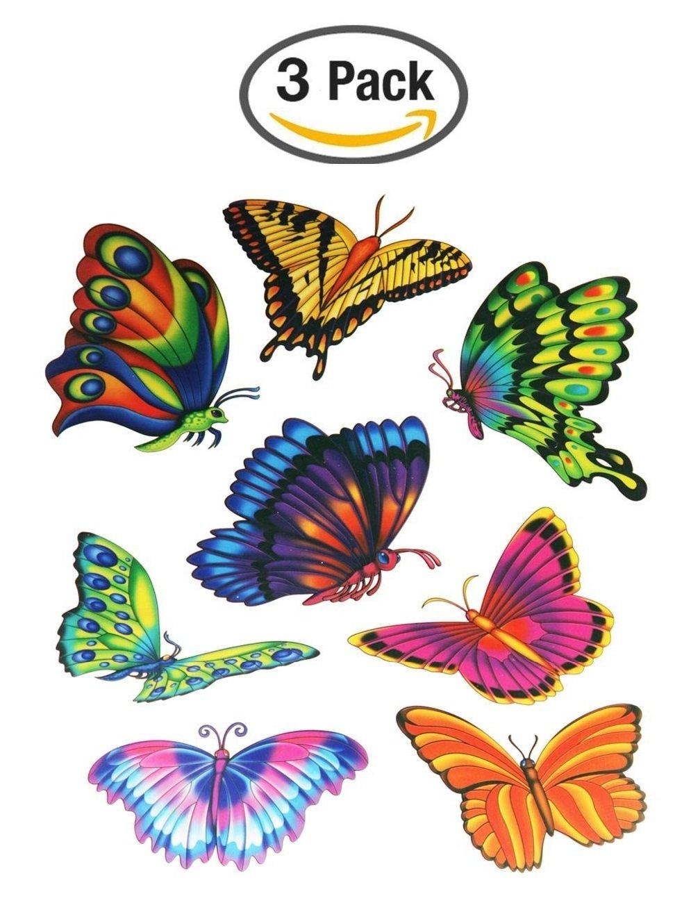 Butterfly Window Clings (24 Butterflies - 3 packs of 8)