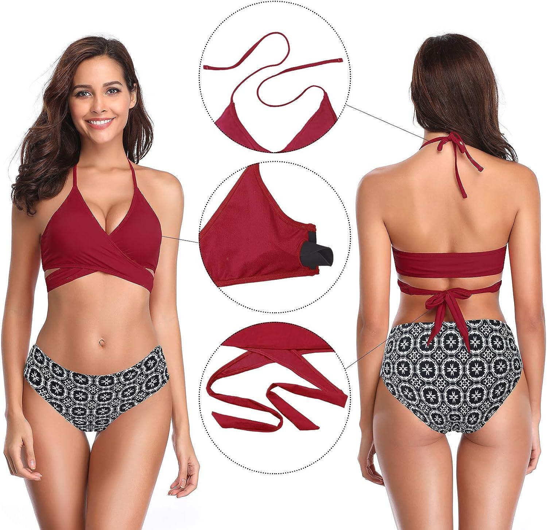 SHEKINI Womens Push-up Halter Bandage Ruched High Waisted Bottoms Bikini Swimsuits