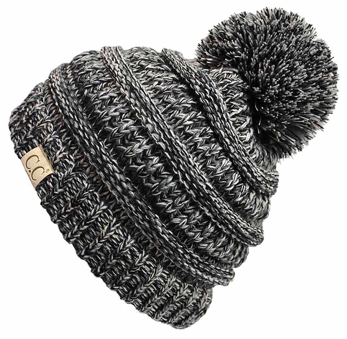 H-6847-816k.06 Girls Winter Hat Warm Knit Slouchy Kids Beanie Pom - Grey/Black #31